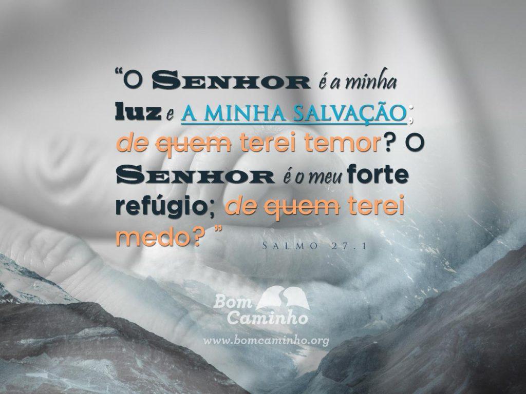 O Senhor é a minha luz e a minha salvação; de quem terei temor? O Senhor é o meu forte refúgio; de quem terei medo? Salmo 27.1